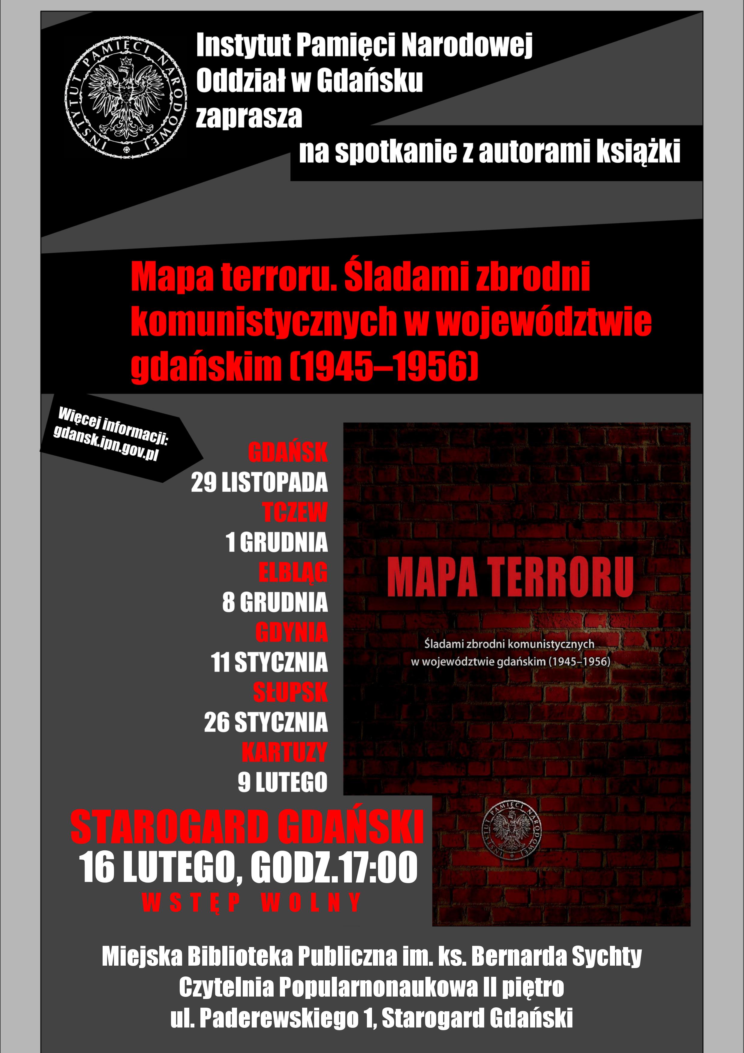 """Spotkanie z autorami książki """"Mapa terroru. Śladami zbrodni komunistycznych w województwie gdańskim (1945–1956)"""""""