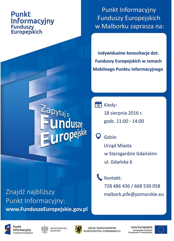 Indywidualne Konsultacje dot. Funduszy Europejskich w ramach Mobilnego Punktu Informacyjnego