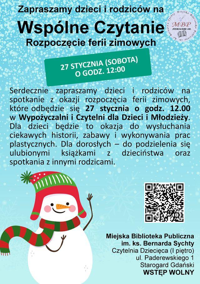 Wspólne Czytanie - Rozpoczęcie ferii zimowych