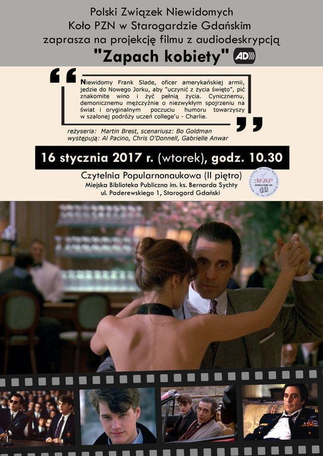"""Projekcja filmu z audiodeskrypcją """"Zapach kobiety"""""""