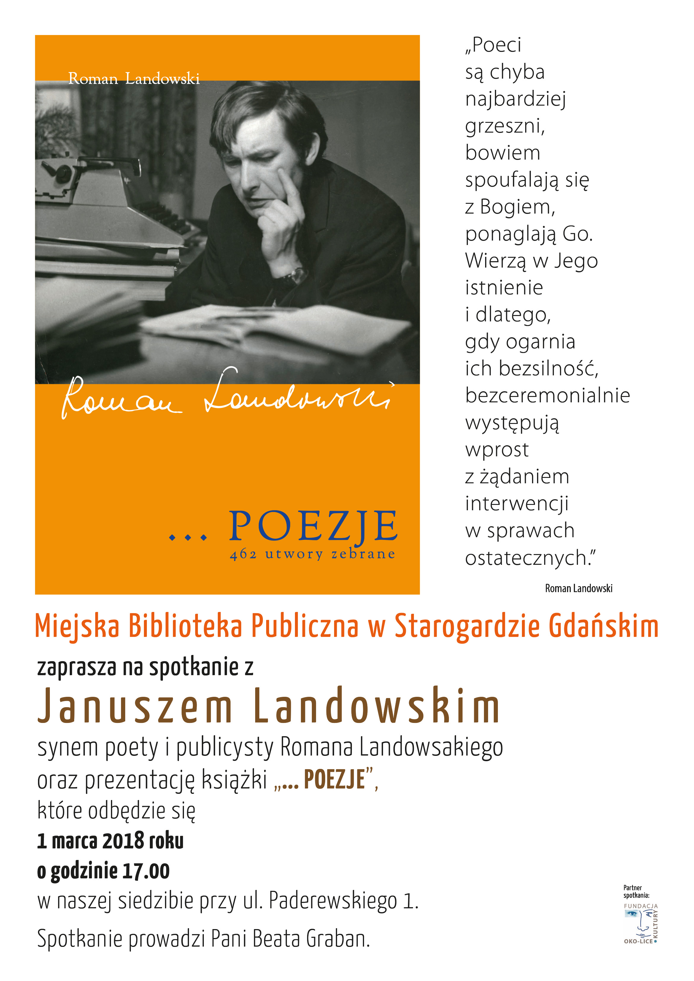 Spotkanie z poezją Romana Landowskiego
