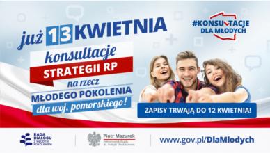 Trwają zapisy na konsultacje strategii dla młodzieży w województwie pomorskim
